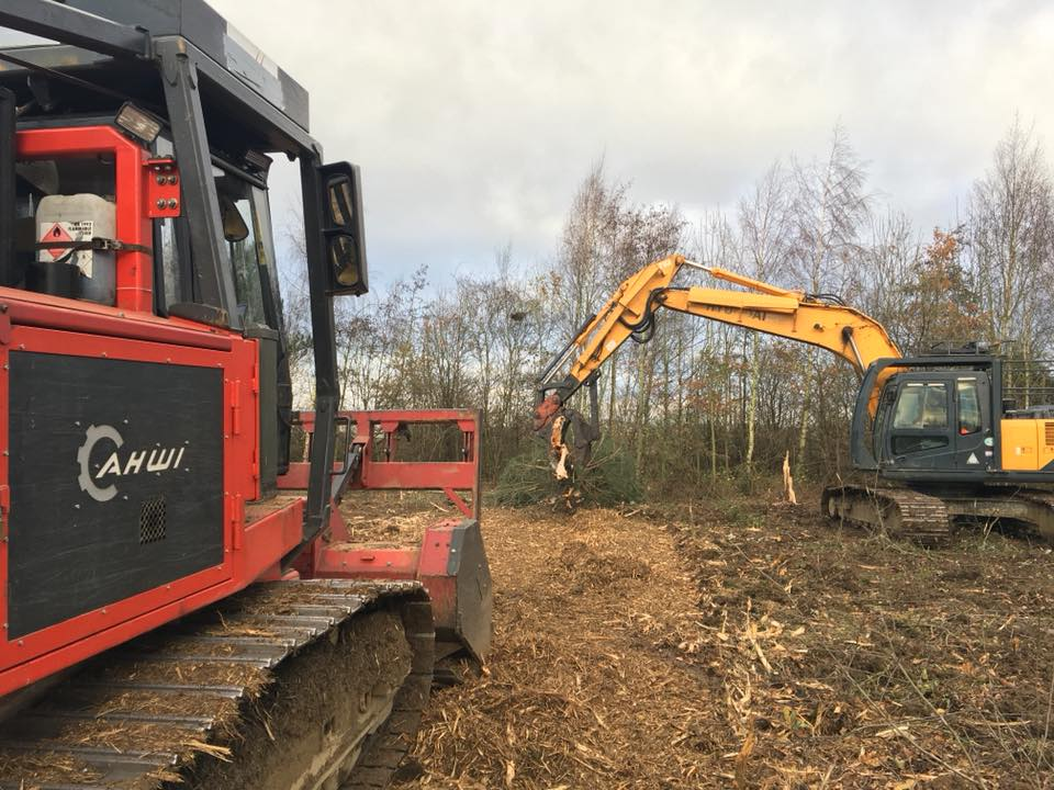 site clearance and vegetation management with Ahwi Mulcher and excavator
